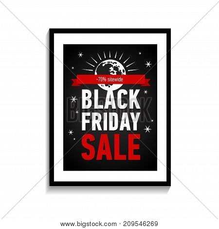 Black friday sale poster in frame on white wall. Black Friday sale inscription design template. Trendy sale poster.