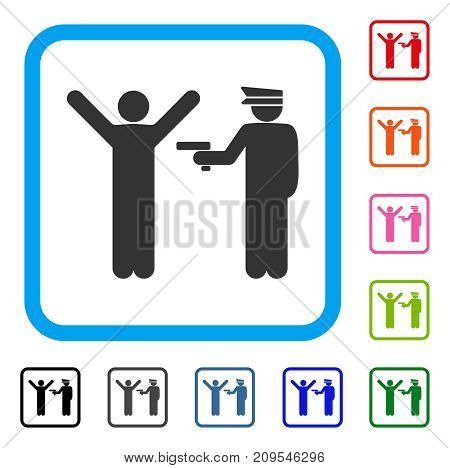 Police Arrest icon. Flat grey iconic symbol in a light blue rounded squared frame. Black, gray, green, blue, red, orange color variants of Police Arrest vector. Designed for web and app UI.