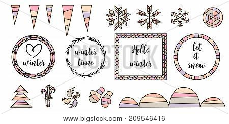 Set of vector typographic design elements. Love winter, hello winter, let it snow. Arrows, Fir, christmas tree, mittens, ski, holly, stars, snowflakes, icicles, frame, snowbanks