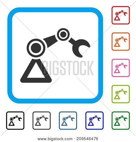 Robotics Manipulator icon. Flat grey pictogram symbol inside a light blue rounded squared frame. Black, gray, green, blue, red, orange color additional versions of Robotics Manipulator vector.