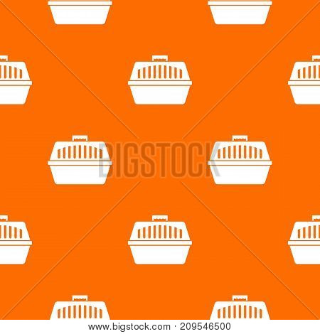 Pet carry case pattern repeat seamless in orange color for any design. Vector geometric illustration