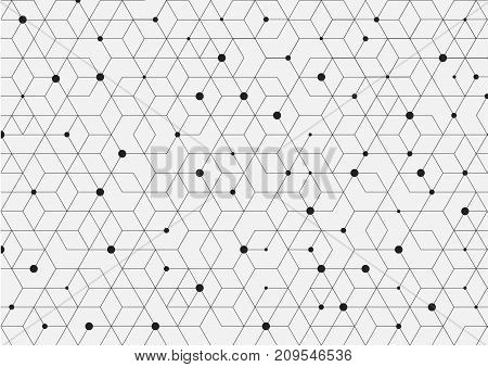 Vector seamless pattern. Modern stylish texture. Repeating geometric background with rhombus and nodes from hexagons.