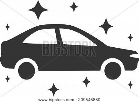 Car Wash - Dazzle New Shiny Clean. Sign, Symbol or Logo Element for Soap, Wax, Detail and Vehicle Maintenance Service. Flat Isolated Silhouette Illustration of Sudan and Sparkle Stars. Simple and Fresh Design.