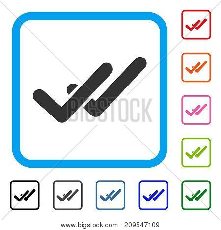 Validation icon. Flat gray pictogram symbol in a light blue rounded rectangular frame. Black, gray, green, blue, red, orange color variants of Validation vector.