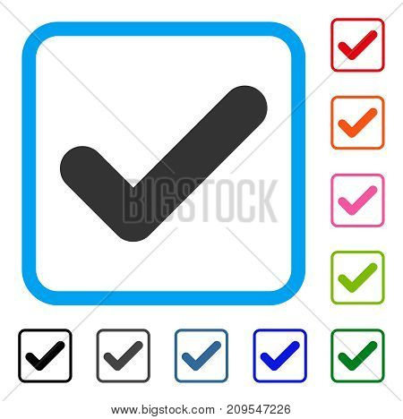 Yes icon. Flat gray pictogram symbol in a light blue rounded rectangular frame. Black, gray, green, blue, red, orange color variants of Yes vector. Designed for web and app UI.