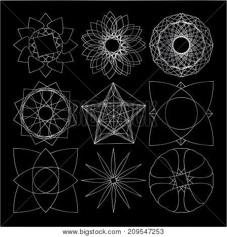 Set of silver geometric vector symbol on black background.
