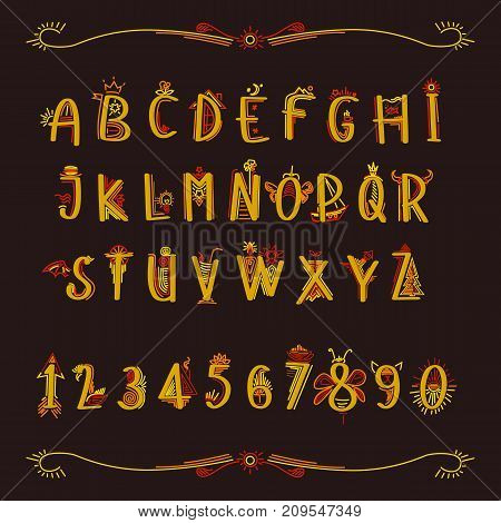 A fabulous alphabet in yellow letters on a brown background.