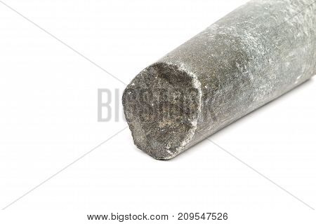 close-up of broke granite pestle isolated on white background