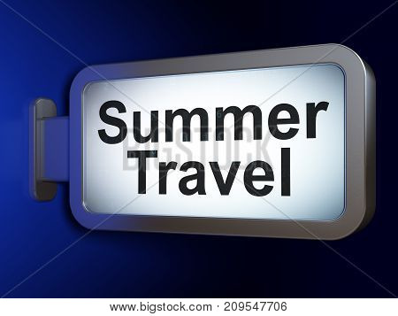 Tourism concept: Summer Travel on advertising billboard background, 3D rendering