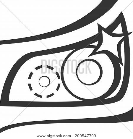 Car Headlight - Dazzle Shine. Closeup of Light and Hood with Shining Sparkle. Simple Outline Line Style Design. Icon or Sign for Light Bulb Vehicle Supply. Maintenance and Cleaning Symbol for Transport and Automobile Transportation Repair Services.