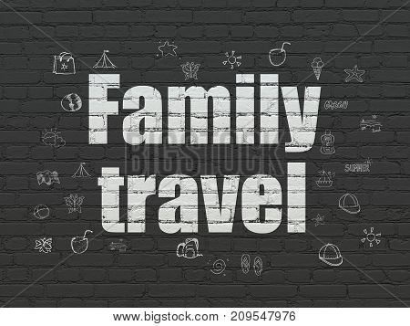 Tourism concept: Painted white text Family Travel on Black Brick wall background with  Hand Drawn Vacation Icons