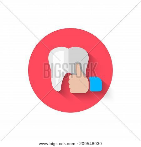 Tooth icon isolated in flat design style vector illustration. Modern, minimalist icon on the theme of stomatology in stylish colors. Website and design for mobile apps and other projects of yours.