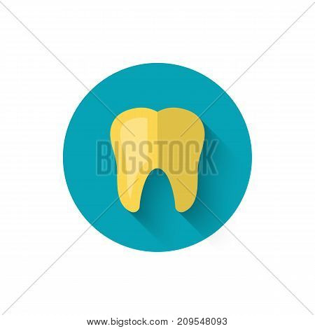 Golden tooth icon, illustrated in a flat style design of vector illustration. Modern icon on dentistry in stylish colors. Website and design for mobile applications and other your projects.