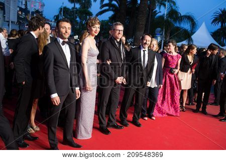 CANNES, FRANCE - MAY 20, 2015: L. Lariviere, L. Bourgoin, J.-H. Anglade  attend the 'Shan He Gu Ren' ('Mountains May Depart') premiere. 68th annual Cannes Film Festival at the Palais des Festivals