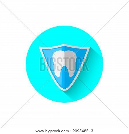 Tooth shield protection icon, illustrated in the flat design style of vector illustration. Modern icon stomatology in stylish tones. Website and design for mobile applications and other your projects.