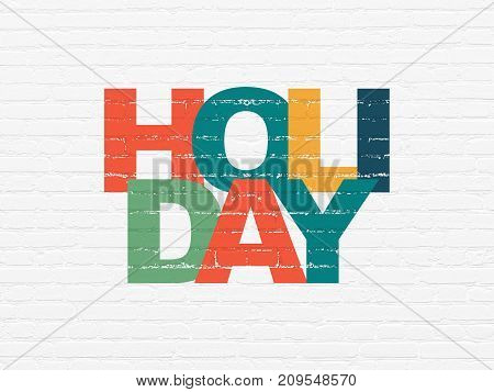 Travel concept: Painted multicolor text Holiday on White Brick wall background