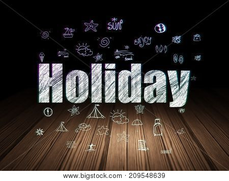 Vacation concept: Glowing text Holiday,  Hand Drawn Vacation Icons in grunge dark room with Wooden Floor, black background