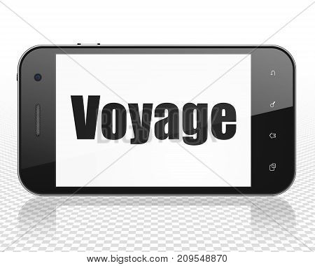 Travel concept: Smartphone with black text Voyage on display, 3D rendering