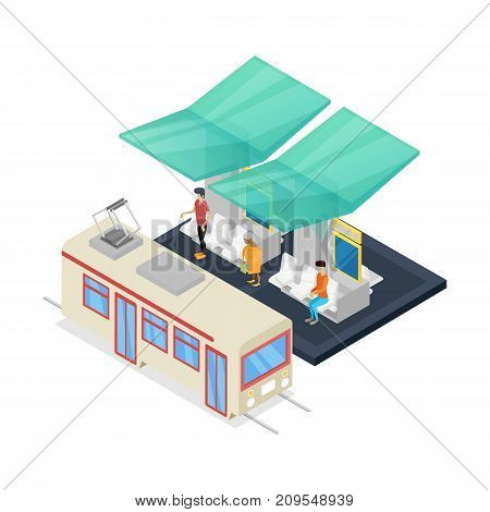 Streetcar stop isometric 3D icon. City public transport, modern town waiting station, urban and countryside traffic concept with vehicle vector illustration.