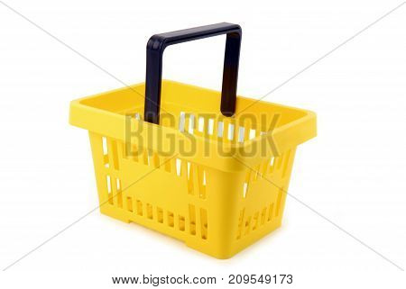 close up of the shopping basket isolated on white