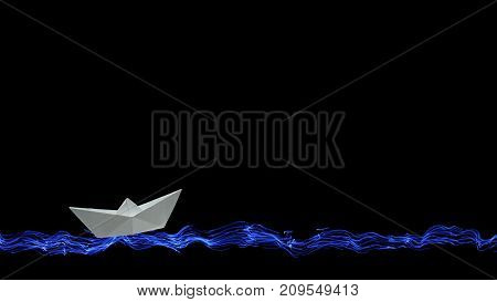 One white origami paper boat sails on the painted sea and waves on a black background at the bottom of the screen with copy space for your inscription above.