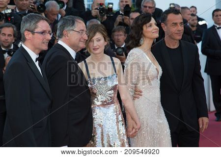 CANNES, FRANCE - MAY 20, 2016: P. Suschitzky, A. Rohrwacher, J. Binoche, M. Garrone  attend the 'The Last Face' premiere. 69th annual Cannes Film Festival at the Palais des Festivals