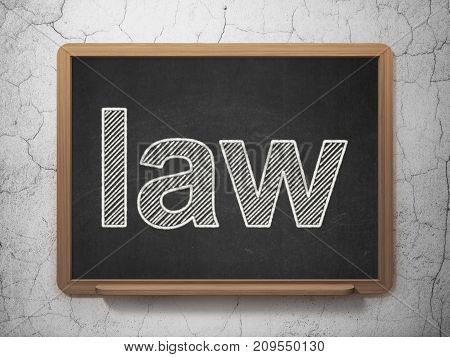 Law concept: text Law on Black chalkboard on grunge wall background, 3D rendering