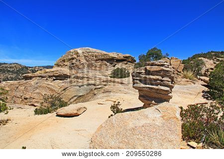 Windy Point on Mount Lemmon in Tucson, Arizona, USA in the Santa Catalina Mountains located in the Coronado National Forest with blue sky copy space.