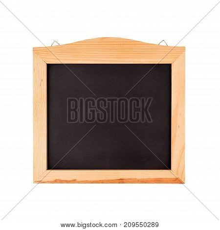 Clean black school chalkboard in a wooden frame isolated