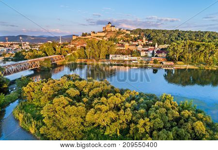View of Trencin with the Trencin castle above the Vah river in Slovakia.