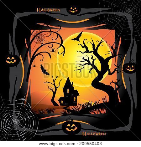Halloween night background with pumpkin, haunted house and full moon. Fantasy Poster invitation template Halloween party, adwertising. Vector illustration.