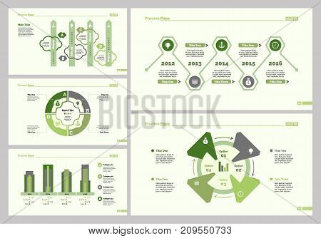 Infographic design set can be used for workflow layout, diagram, annual report, presentation, web design. Business and strategy concept with process, bar, timing, cycle and percentage charts.