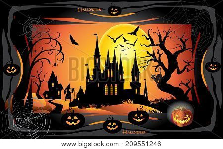 Halloween night background with pumpkin, bat, spider web, fantasy forest, haunted house and full moon. Template for Halloween party nvitation, adwertising. Holiday Vector illustration.
