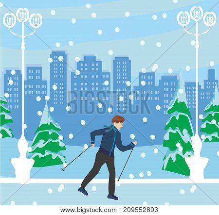 Nordic walking Man in the park on winter landscape , vector illustration