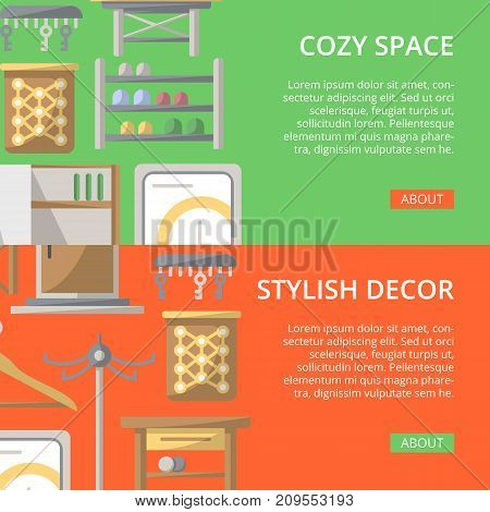 Cozy corridor space poster set. Home interior design, stylish apartment decoration and renovation. Interroom door, clothes hanger, bookshelf, cupboard, tabouret, table, key hanger vector illustration