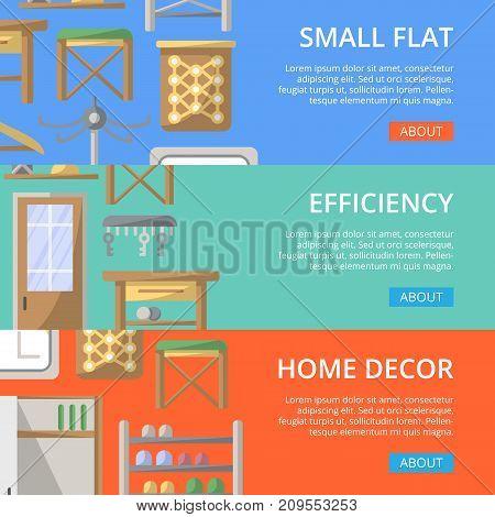 Efficiency hallway space decoration poster set. Small flat interior design, stylish apartment decor and renovation. Interroom door, clothes hanger, bookshelf, cupboard, tabouret vector illustration