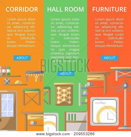 Corridor furniture poster set. Hallway interior design, stylish apartment decoration and renovation. Interroom door, clothes hanger, bookshelf, cupboard, tabouret, key hanger vector illustration