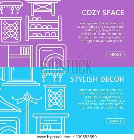 Cozy corridor space linear poster set. Home interior design, stylish apartment decoration and renovation. Interroom door, clothes hanger, bookshelf, cupboard, tabouret, table vector illustration