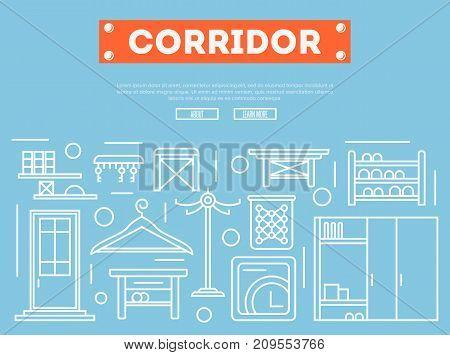 Corridor furniture poster in linear style. Hallway interior design, stylish apartment decor and renovation. Interroom door, clothes hanger, cupboard, tabouret, key hanger vector illustration