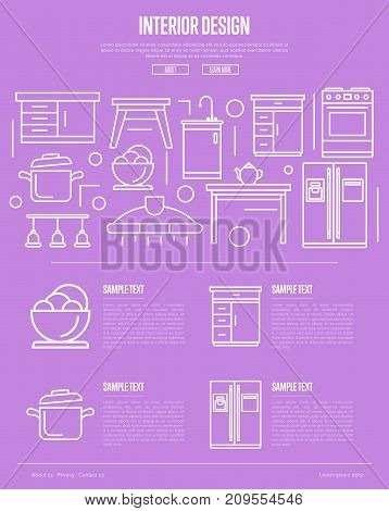 Kitchen interior design linear poster. Modern apartment decoration and stylish furniture renovation. Cooking table, wash basin, gas stove, refrigerator, stool, lamp, air extractor vector illustration