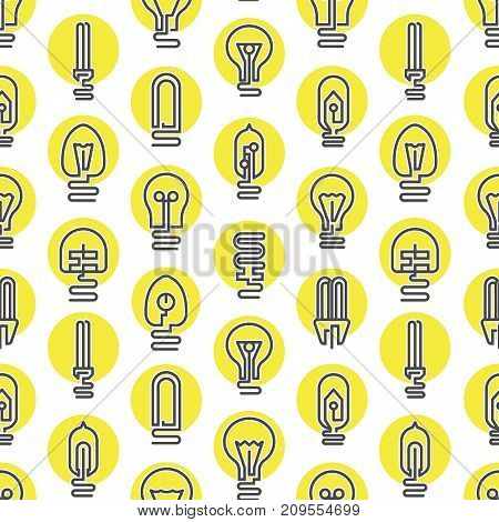 Light bulb and LED lamp seamless pattern in modern thin line style. Electrical equipment, lamp background. Simple light bulb pictograms isolated on white vector illustration.