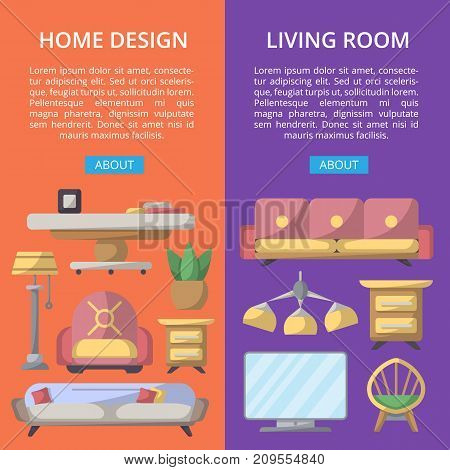 Living room design poster set. Stylish and cozy home space, interior renovation and modern apartment decor. Bed, sofa, armchair, hanging lamp, bedside table, lcd tv, coffee table vector illustration
