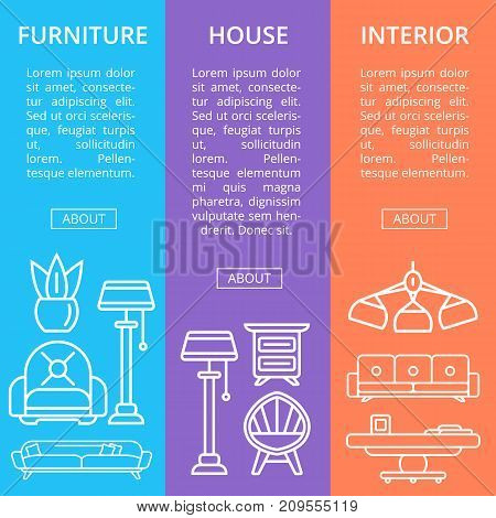 Modern house furniture linear poster set. Stylish and cozy living room space, home interior decoration. Bed, sofa, armchair, hanging lamp, bedside table, lcd tv, coffee table vector illustration