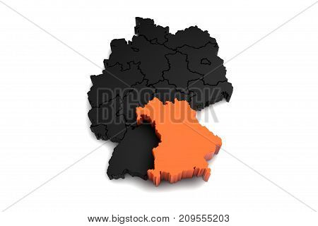 black germany map, with Baden-Wurttemberg reagion, highlighted in orange.3d render