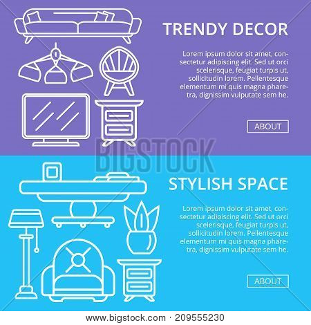 Stylish and cozy home space linear posters. Living room interior renovation and modern apartment decoration. Bed, sofa, armchair, hanging lamp, bedside table, lcd tv, coffee table vector illustration
