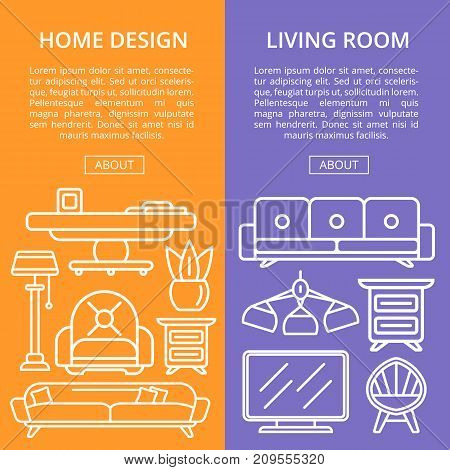 Living room design linear posters. Stylish and cozy home space, interior renovation, modern apartment decor. Bed, sofa, armchair, hanging lamp, bedside table, lcd tv, coffee table vector illustration