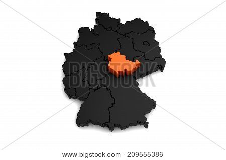 black germany map, with Thuringia region, highlighted in orange.3d render