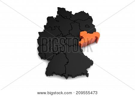 black germany map, with Saxony region, highlighted in orange.3d render