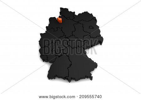 black germany map, with bremen region, highlighted in orange.3d render