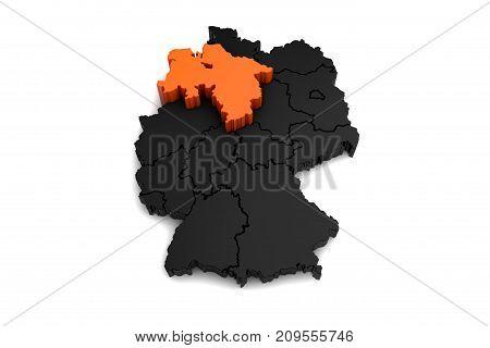 black germany map, with niedersachsen region, highlighted in orange.3d render